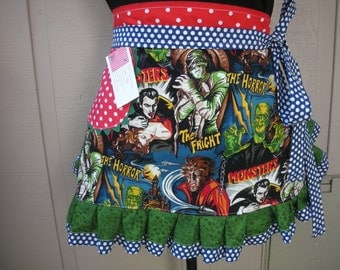 Aprons - Pleasures and Pastimes Aprons - Old Horror Movie Aprons - Monsters Apron - Movies fabric Apron - Annies Attic Aprons - Waist Apron
