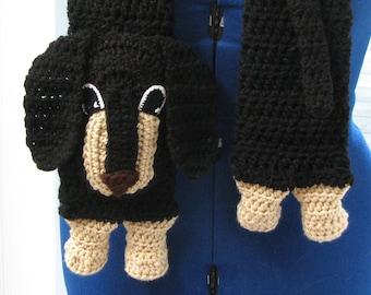 Crochet Pattern - Dachshund Dog Scarf Pattern - Dog Themed Gifts - Women's Scarves - Men's Scarf - Animal Scarf - Digital Download