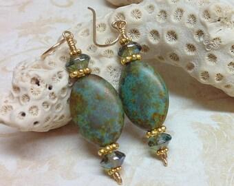 Verdigris Earrings, Blue and Green Beaded Earrings, Premium Czech Glass Earrings with Gold