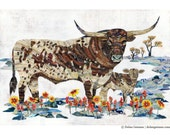 Lineage Longhorn with Calf Limited Edition Print