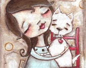 Print of my original folk art mixed media Dog painting - Give A Dog A Hug - Duda Daze