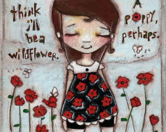 Original Folk Art Mixed Media Flower Girl  Painting - Wildflower - Free U. S. shipping