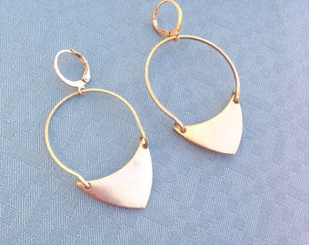 Brass Triangle Hoop Earrings - Statement Earrings - drop Earrings - large earrings - geometric earrings