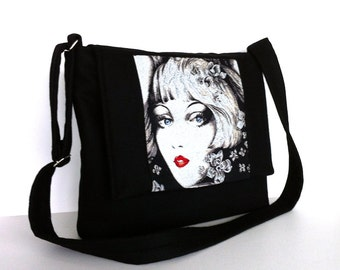 Black messenger bag Crossbody bag Women office bag Side purse Work bag School messenger College bag Black shoulder bag , Cross over purse