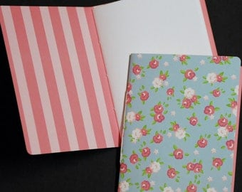 Shabby Roses, pink on blue, set of 2, note pads, scratch pads, jotters, mini journal, mini notebook, pocket size, planner, to do lists