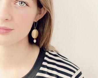Golden Brass and Fresh Water Pearl Dangle Earrings