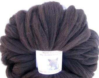 Black Alpaca Merino Top, Spinning and Felting Fiber 2 ounces