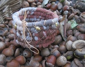 BABY ACORN hand coiled basket bowl  SMALL  with charms