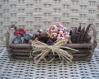 HARVEST sampler BASKET   floral arrangement TRAY centerpiece  Number 3