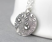 Sterling Silver Necklace Silver Charm Necklace Silver Pendant Necklace Charm Jewelry Flower Jewelry Bohemian Jewelry - Unique Petite