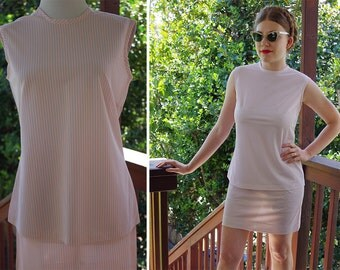 Pink PETAL 1960's 70's Vintage Pale Pink Dress Suit w/ Skirt + Blouse // size Small W25-26