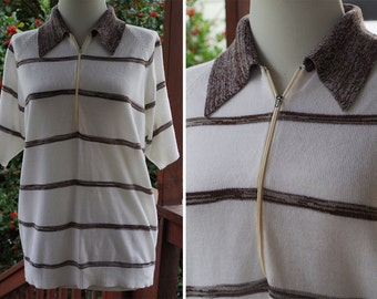 DEXTER 1970's 60's Men's Vintage White + Brown Striped Knit Shirt with Zipper Pointed Collar // size Medium