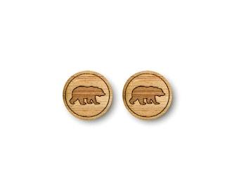 Mini Bear Earrings. Bear Earrings. Wood Earrings. Stud Earrings. Laser Cut Earrings. Bamboo Earrings. Gifts For Her. Gift For Women. Bear.