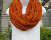 Hand knit long bulky cabled cowl in pumpkin or rust color, chunky knit cabled cowl, warm winter cowl, large infinity scarf,  circle scarf