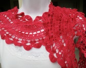 Hand crocheted long lace scarf in red, done in a series of large alternating scallops, narrow scarf, Valentine's Day gift, dressy red scarf
