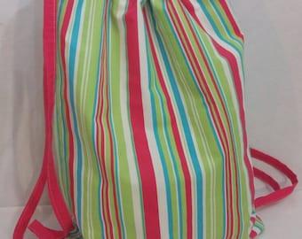 Drawstring Backpack Cabana Beach Stripes