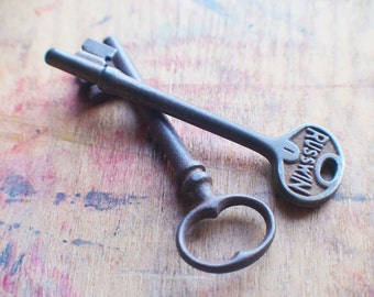 Large Antique Skeleton Keys - Russwin Duo