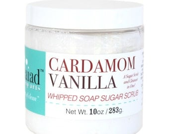 Cardamom Vanilla Whipped Soap Sugar Scrub - cruelty free and vegan