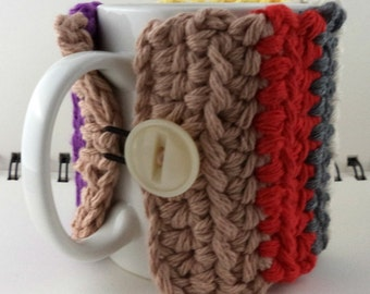 Crocheted Coffee or Ice Cream Cozy, Multi-Colored Striped (SWG-Z14)