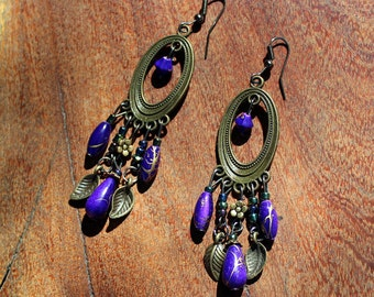 SALE/Royal Purple and Gold Jubalie Earrings / #Boho Wear / #Gypsy Wear /#Handmade /#Gift for Her