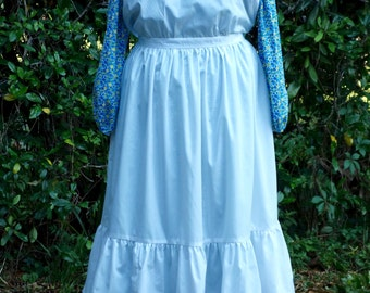 Ladies, size 16/18 Pioneer/Prairie costume in blue and white.