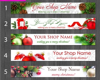 Christmas Etsy Shop Banner, Christmas Cover Photo, Christmas Etsy Banner, Pine Branches, Pine Cones, Gifts, Ribbon, Ornaments, Sale Banner