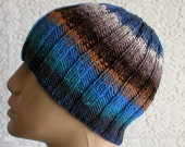 Ribbed beanie hat, skull cap, blue, grey, stone, rust, brown, striped hat, men's hat, knit hat, biker cap, chemo cap, ski, snowboard hat