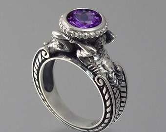 CARYATID Sterling Silver Ring with Amethyst