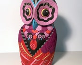 Owl - orignal found object painting / sculpture