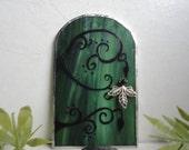 Fairy Door, Green Stained Glass, Garden Sculpture, Hand Painted, Fae Door, Portal, Fairy House, Garden Art, Whimsical Home Decor, Faerie
