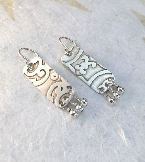 Sterling Silver Rectangle Earrings, Etched Shabby Chic Wire Wrap Earrings, Boho Jewelry, Bridesmaid, Gift for Her, Bridal Jewelry, E15SSERD