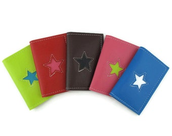 Business Card Holder Small Wallet with Star Design in CUSTOM Colors by Tender Roni *Choose Your Own Colors*