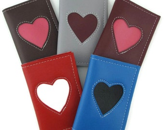 Business Card Holder Small Wallet with Heart Design in CUSTOM Colors by Tender Roni *Choose Your Own Colors*