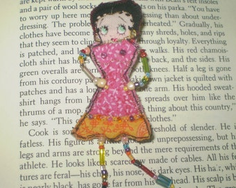 Betty Boop doll pin- handmade quilted, beaded Betty Boop doll brooch- scrap craft doll brooch pin- OOAK quilt pin