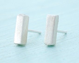 Thick Bar Studs, sterling silver earrings, gold earrings, eco-friendly. Handcrafted by Chocolate and Steel
