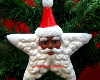 African American Santa Claus Shining Star Ornament Handpainted