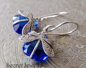 Silver Dragonfly Earrings, Bohemian Earrings, Insect Jewelry, Sapphire Blue Earrings, Czech Glass Jewelry, Antique Silver Blue Earrings