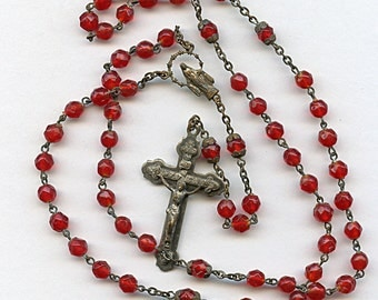Vintage RED Glass Rosary Crucifix Religious Transparent  1629