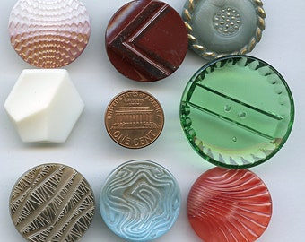 """Really big  buttons Lot of (8) Vintage COLORS Glass Buttons 1"""" PLUS 1800"""