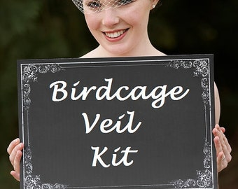 Make your own birdcage veil Kit- 1 Yard of  Ivory or White 9 inch  French Netting  and Birdcage Veil Tutorial - Make Your Own Blusher Veil