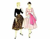 1950s Wide Slit V-Neckline Blouse Full Skirt Sash McCalls 9958 Vintage Sewing Pattern Size 12 Bust 30