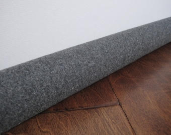 CUSTOM length door draft stopper, GRAY wool draft snake, draught excluder, draft stopper