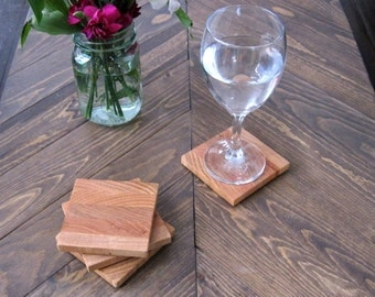 OAK coaster set, light wood coasters, set of 4 wood coasters, reclaimed wood coasters