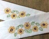 Hand Embroidered One Pair (2) of Standard Size Pillow Cases. White Embroidered with Sun Flowers