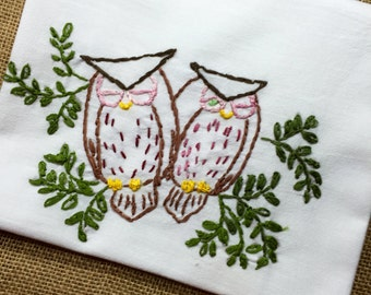 Hand Embroidered FlourSack Towel 100 pct cotton ,embroidered with a pair of Owls Sitting in a Tree