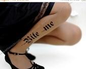 15%SALE/endsAUG30/ sexy HALLOWEEN Bite Me tattoo thigh-high stockings cafe latte