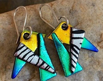 NEW Stunning  3D Dichroic Earrings Fused Glass with Handmade Sterling Silver Hooks