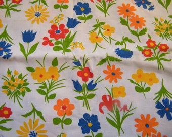 Vintage cotton decorator weight floral fabric orange, lime green, red, blue, yellow, tulips, daisies, irises, lily of the valley, carnations