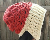 Orange and Cream Earflap Slouchy hat