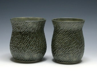 Two Hand Carved Vases with Smokey Gray Blue Glaze